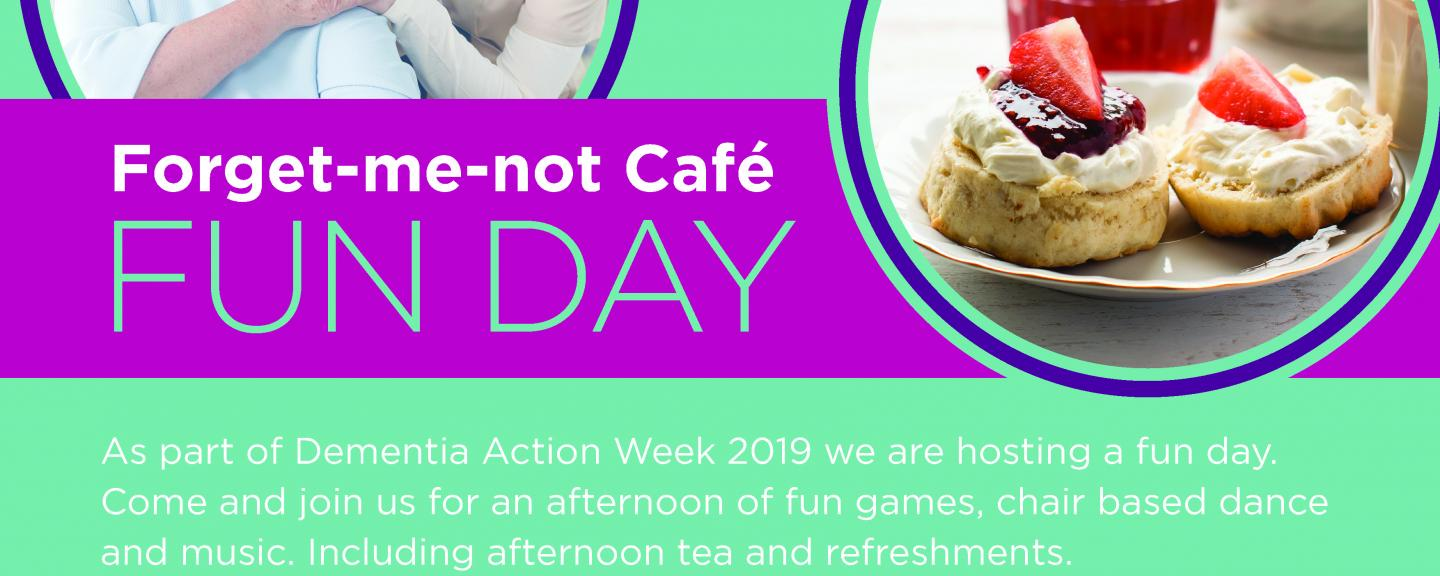 Forget-me-not cafe fun day poster