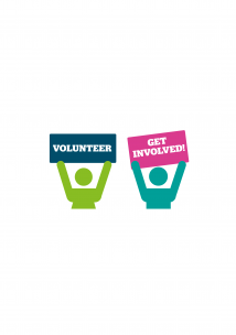 Two people promoting volunteering